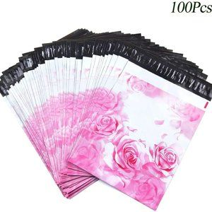 """100 Pack Poly Mailers, 10"""" X 13"""" Pink Roses"""